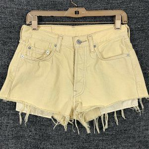 Levis 29 Cut Off Shorts Distressed Yellow Button